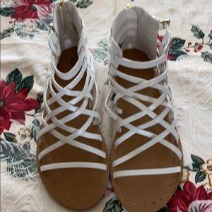 Women Gladiator White Crisscross Strappy Sandals
